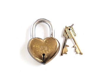 Vintage Heart Lock and Key gift for him love lock heart padlock brass lock antique padlock 7th anniversary gift large lock #122