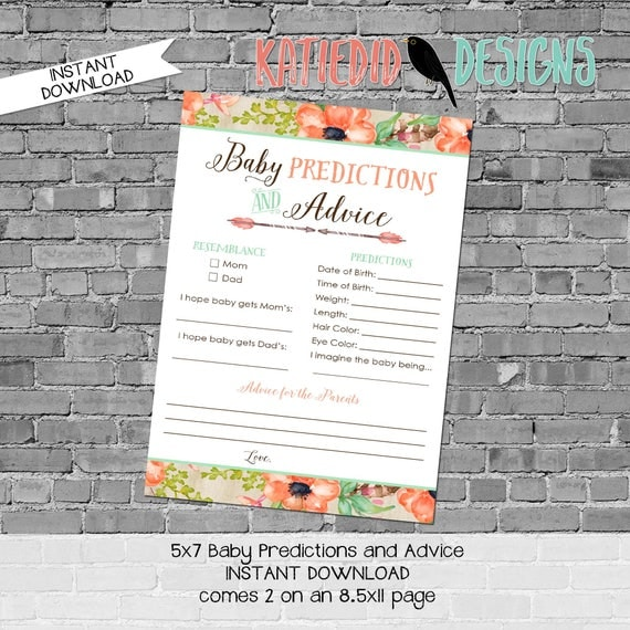 baby shower games printable baby predictions stats advice 1445 wood flowers feathers rustic digital gender sprinkle rustic chic coral mint
