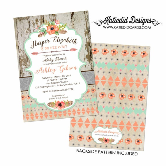 BOHO baby shower invitation tribal couples bridal wood rustic chic surprise gender reveal two moms dads mint coral 1445 Katiedid Designs