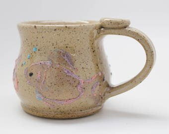 Fish Mug, Ready To Ship, Pink and Purple Fish Mug