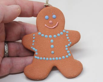 Gingerbread Man, Holiday Ornament, Handmade Pottery Ornament