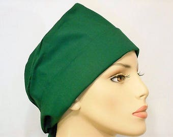 Scrub Hat Medical Style Pixie Tie Back- Solid Green