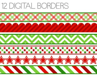 Christmas Clipart - Christmas Digital Borders - Christmas Clipart Edging - Instant Download - Commercial Use