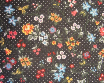 Floral Print, Tiny flowers on a black background, Country Florals
