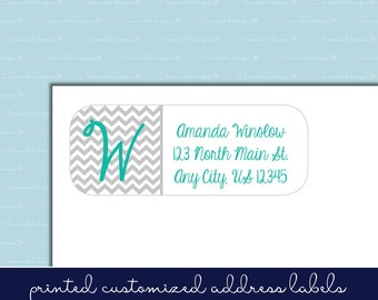 Chevron Monogram Return Address Labels