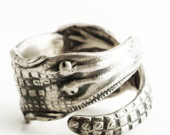 Alligator Ring, Thumb Ring, Sterling Silver Spoon Ring, Swamp Ring, Gator Rings, Alligator Jewelry, Gator Jewelry, Adjustable Ring Size 6645