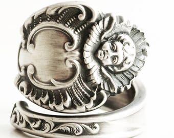 Cherub Angel Ring, Cupid Ring, Sterling Silver Spoon Ring, Victorian Baby, Cherub Ring Gift, Antique Spoon Ring, Adjustable Ring Size (6649)