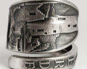 Mesa Verde National Park Ring, Sterling Silver Spoon Ring, Colorado National Park Gift, Native American Cliff Dwellings, Custom Size (6931)