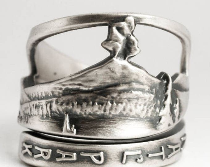 Lassen National Park Ring, Volcano Ring, Vintage Spoon Ring Sterling Silver, National Park Gift, California Ring, Adjustable Ring Size, 6926