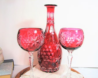 Mid-Century Bayel Cristal VINEYARD Cranberry Cut to Clear Hock Wine Glasses, Pair, and Carafe ... French Crystal, Bohemian Stemware