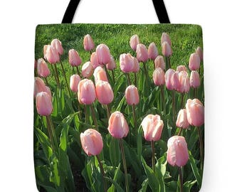 Pink Tulips Tote Bag, Grocery Tote Bag, Flower Tote Bag,  Summer Tote Bag, Beach Tote Bag, Patrushka Flower Totes, FREE SHIPPING USA