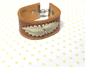 Unisex Leather cuff Bracelet, magnetic clasp, recycled, Item No. L001