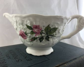 White Vintage Creamer with Pink Roses