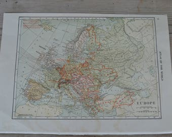 Europe Several Countries Vintage Map Print