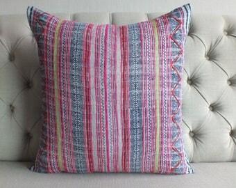 22x22, Indigo Batik Pillow Cover- Handmade Batik Fabric,Decorative Cushion,Throw Pillow,Decorative Pillow