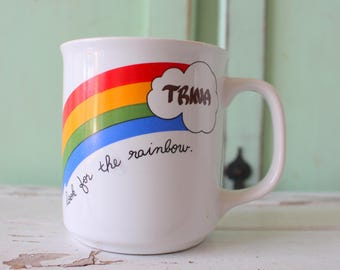 Vintage RAINBOW MUG.....TRINA. coffee. tea. colorful. rainbow. retro housewares. kitsch. 80s housewares. gift. kitchen. drink. gift for her