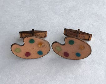 Vintage Cufflinks Painters Palette Enamel  Copper