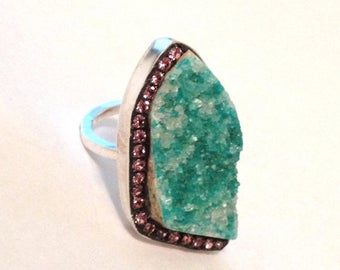 SUMMER Sale Sea green Chrysocolla druzy and rose austrina crystal sterling silver ring