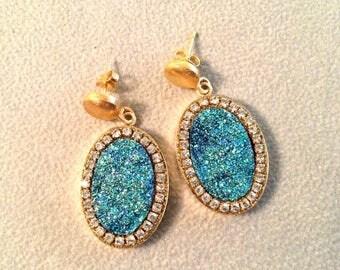 SUMMER Sale Sparkling Druzy Gold filled dangle earrings