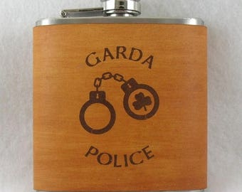 ON SALE St Patrick's Day Flask - Flask with Hand Dyed Engraved Leather Wrap - Police