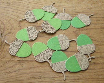 Handmade Acorn Stickers Hand Crafted Green Fabric and Green Paper with Die Cut Chipboard Tops 1 3/8 x 3/4 inch - 12 quantity