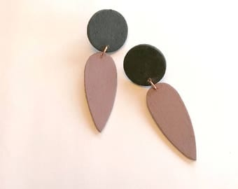 Black & Mauve Wooden Earrings