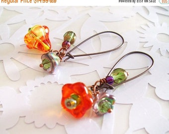SALE Dangle Earrings with ORANGE glass Bell Flower beads Green, and Purple Beads kidney ear wires woman jewelry accesories