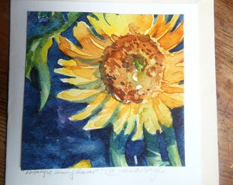 "watercolour painting  ""Single Sunflower"" original fine art image on a card  -SALE-"