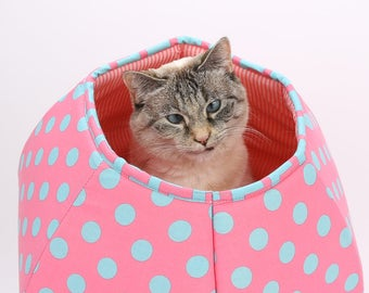 Cat Cave Bed for Kittens and Small Cats - The Mini Size Cat Ball in Pink and Aqua Polka Dots Cotton Fabric