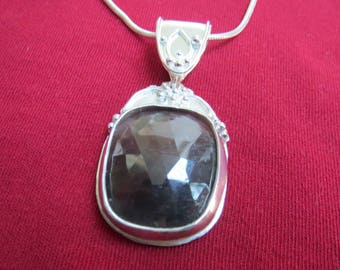 Extra Large Red Sapphire in Granulated Sterling Pendant with Bail