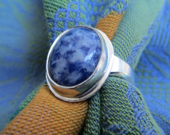 Blue Willow Stone in Simple Sterling Ring Size 6 & a Half