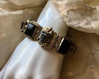 Vintage Mexican Onyx Silver Bracelet