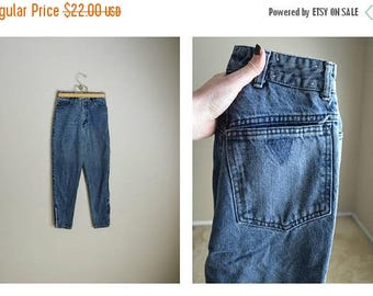 Summer SALE - 20% off - vintage 80s guess faded black zip ankle jeans -- 24x26- cropped - size 000