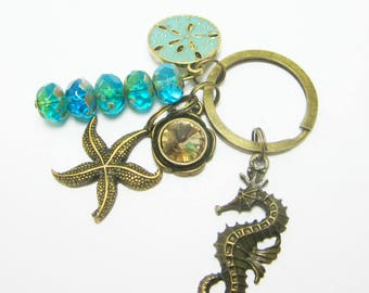 Beachy Keychain Ocean Themed Key Chain Green Sand Dollar Charm Large Seahorse Starfish Charms Aqua Green Czech Rondelles 289