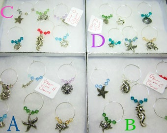 1 Set Wine Glass Charms Ocean Themed Wine Glass Charms Swarovski Bicone Elements You Choose A B C or D