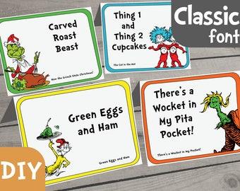 Dr. Seuss Food Label DIY Set of 40 - PDF Form, Dr Seuss Printable, Dr Seuss Party, Dr Seuss Baby Shower, Dr Seuss Birthday, Dr Seuss Buffet