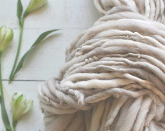 Yarn Handspun Bulky Thick n Thin Grey Sand Dusty Beige Light Pastel Hand dyed Wool Knitting Crochet Supplies Yospun