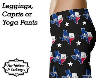Texas Strong Leggings / Texas Yoga Pants / Printed Leggings / Womens Clothing / Texas State / Workout Leggings / Gift for Her / Texan