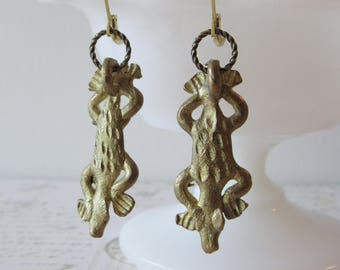 Ethiopian Earrings, Brass Lizard or Frog Dangles // 100% to Charity