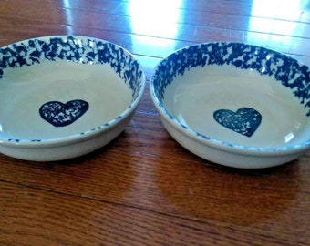 "2 x Folk Craft Hearts By Tienshan Bowls 6 1/2"" Blue & White"