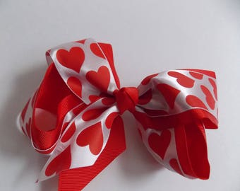 Valentine Hair bow Red heart girls Valentine Bow  Cut out Heart  Boutique Hair Bow  Red white Lt.pink bow