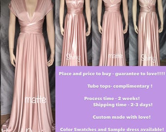 Blush Bridesmaid Dress, Convertible Bridesmaids Dress  Blush Long Dress Wrap Dress Lycra Wedding