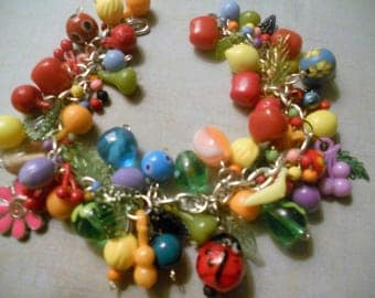 Fruit Charm Bracelet - La Vida Loca Bead Bracelet - Festive and Fun Fruit Beads and Glass Beads