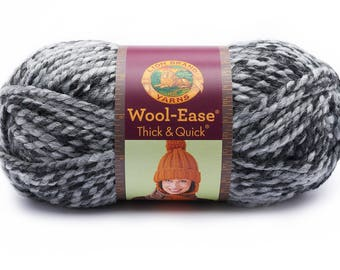 Licorice Grey DeStash Yarn - Lion Brand Wool Ease Thick & Quick, Super Bulky Wool Blend Yarn, Charcoal Grey
