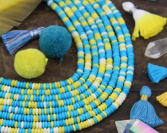 Icy Lemon : Aqua, White, Yellow, Bone Rondelle Heishi Beads, 5x2mm, Bright Yoga Mala Jewelry Making Supplies, Festival, Bohemian, 225 pcs