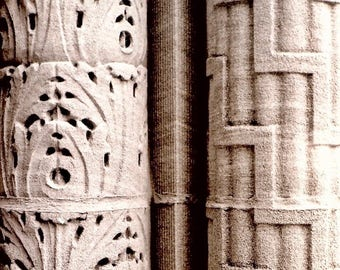 Textured Columns, Black and White Fine Art Photograph monotone classical architectural elements modern art photography