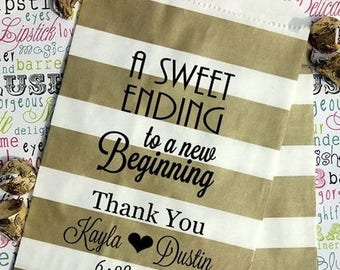 """GLAMSALE Personalized Wedding Favor Bags - """"A Sweet Ending.."""" Personalized Wedding Candy Bags - Popcorn Bags - Custom Wedding Treat Bags - S"""