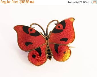 SALE Butterfly Brooch Orange Enamel  Rare CG Hallberg Guilloche 1921 Sterling Silver Stockholm