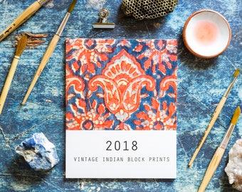 2018 Wall Calendar, Desk Calendar, Vintage Indian Block Prints, Large boho Calendar, Printed Calendar, 8x10 Ethnic Fabric Prints