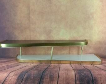Mid Century Wall Shelf By Turner//Brown and Gold Shelf//2 Tier Table Top Shelf//Atomic Decor/The Shining Shelf//Retro Bar Shelf/Wall Display